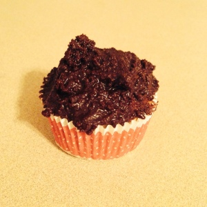 White Cupcake with Brownie Frosting