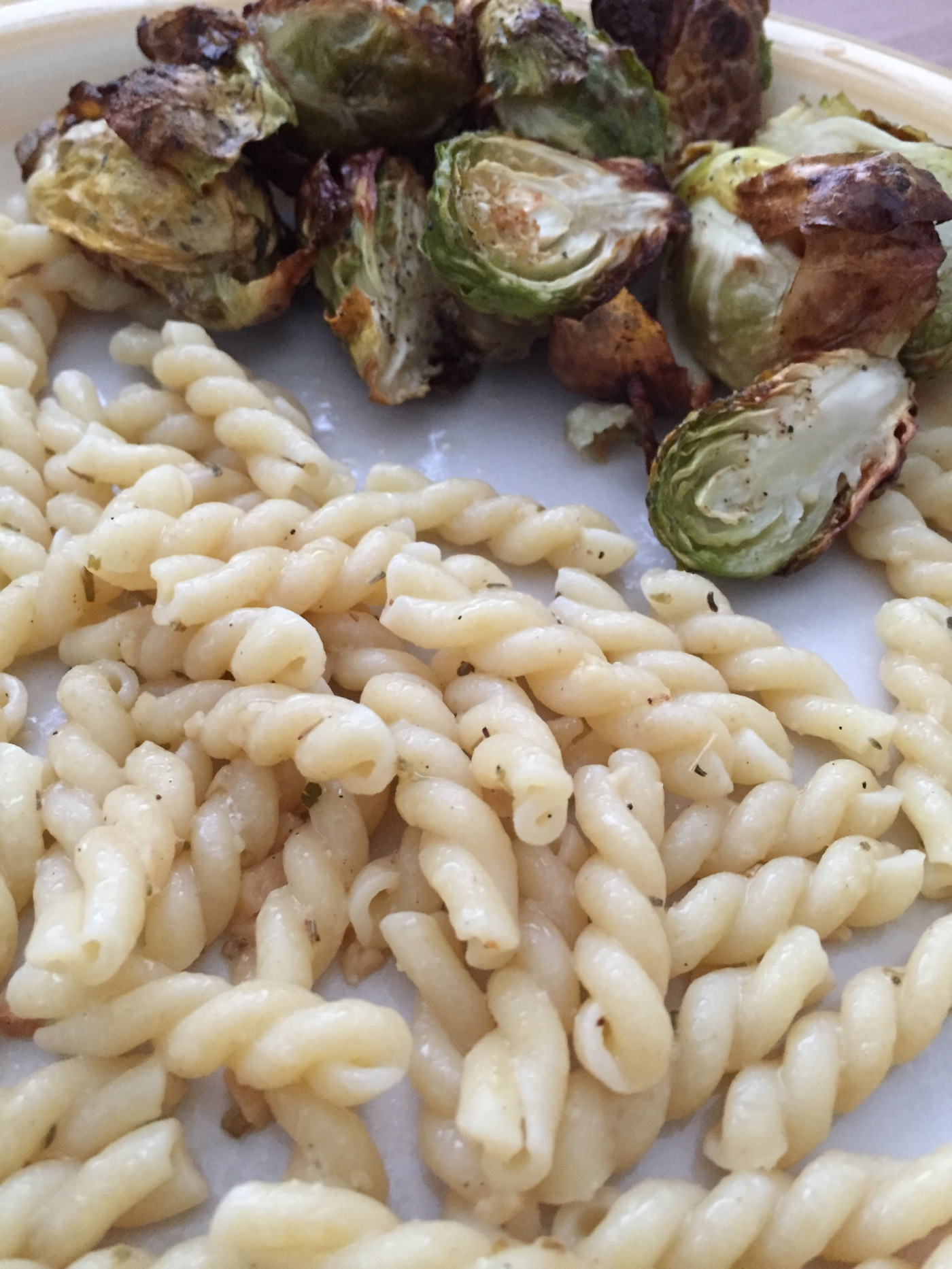 Oven Roasted Brussel Sprouts with Garlic Butter Noddles